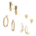 Estate Jewelry:Earrings, Diamond, Sapphire, Gold Earrings. ... (Total: 4 Items)