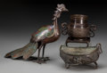 Asian:Chinese, Three Chinese Bronzes: Pheasant, Boat, and Censer. 10-1/2 h x 12 wx 3-1/4 d inches (26.7 x 30.5 x 8.3 cm). The lot compri... (Total:3 Items)