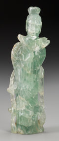 Asian:Chinese, A Chinese Carved Fluorite Guanyin, 20th century. Marks:CHINA. 10-1/4 inches high (26.0 cm). Property from thePerso...