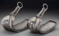 Asian:Other, A Large Pair of Japanese Iron Stirrups with Silver Niello Inlay,18th century. Signed: Kashu Komatsu Ju Shimi Saku. 9-1/4 h ...(Total: 2 Items)
