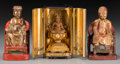Asian:Chinese, A Japanese Lacquered and Partial Gilt Buddha Shrine with TwoChinese Carved Wood Court Figures, 19th-20th centuries. 6-3/8 i...(Total: 3 Items)