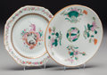 Asian:Chinese, Two Chinese Export Armorial and Famille Rose Porcelain Plates,circa 1750-1862. 6-1/2 inches diameter (16.5 cm) (larger). ...(Total: 2 Items)