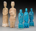 Asian:Chinese, Five Chinese Tang-Style Glazed Porcelain and Plaster Figures, 20thcentury. Marks: CHINA. 8-1/4 inches high (21.0 cm) (t...(Total: 5 Items)