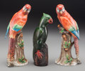 Ceramics & Porcelain, British:Modern  (1900 1949)  , A Pair of English Chelsea Porcelain Parrots with Chinese CeramicParrot, early 20th century. Marks to Chelsea parrots: (anch...(Total: 3 Items)