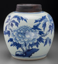 Asian:Chinese, A Chinese Blue and White Porcelain Covered Ginger Jar withChrysanthemum Motif, 20th century. 9-3/4 inches high (24.8 cm). ...