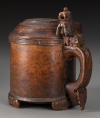 A Continental Turned and Carved Burlwood and Walnut Tankard, circa 1700 8-3/4 inches high (22.2 cm)  PROVENA