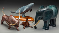 Four Bronze Animal Figures: Seal, Blue Whale, Gumps Elephant, Bull, 20th century 7-1/8 h x 10 w x 5 d inches (18.1