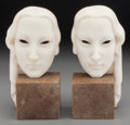 Decorative Arts, Continental:Other , A Pair of Art Deco Alabaster and Marble Bookends , circa 1920-1930.Marks: Ualy, 6109/2. 8-1/2 inches high (21.6 cm). ...(Total: 2 Items)