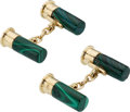 Estate Jewelry:Cufflinks, Malachite, Gold Cuff Links, Holland & Holland. ... (Total: 2 Items)