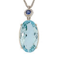 Estate Jewelry:Pendants and Lockets, Aquamarine, Sapphire, Gold Pendant-Necklace. ...