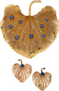 Estate Jewelry:Suites, Sapphire, Diamond, Gold Brooch. ... (Total: 3 Items)