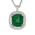 Estate Jewelry:Pendants and Lockets, Tsavorite Garnet, Diamond, White Gold Pendant-Necklace. ...
