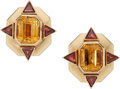 Estate Jewelry:Earrings, Citrine, Garnet, Gold Earrings. ... (Total: 2 Items)