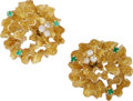 Estate Jewelry:Earrings, Diamond, Emerald, Gold Earrings, Shreve & Co.. ... (Total: 2Items)