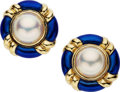 Estate Jewelry:Earrings, Mabe Pearl, Enamel, Gold Earrings. ... (Total: 2 Items)
