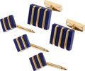 Estate Jewelry:Cufflinks, Lapis Lazuli, Gold Dress Set. . ... (Total: 5 Items)