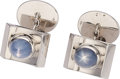 Estate Jewelry:Cufflinks, Star Sapphire, White Gold Cuff Links. . ... (Total: 2 Items)