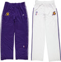 Basketball Collectibles:Uniforms, Circa 2010 Kobe Bryant Game Worn Los Angeles Lakers Warm-Up PantsLot of 2....