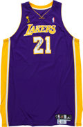 Basketball Collectibles:Uniforms, 2009 Josh Powell Game Worn, Signed Los Angeles Lakers Finals Jerseyand Shoe....