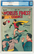 Golden Age (1938-1955):Superhero, World's Finest Comics #24 (DC, 1946) CGC VG/FN 5.0 Tan to off-white pages....