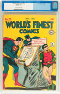 Golden Age (1938-1955):Superhero, World's Finest Comics #23 (DC, 1946) CGC FN/VF 7.0 Off-white to white pages....