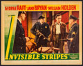 "Movie Posters:Crime, Invisible Stripes (Warner Brothers, 1939). Linen Finish Lobby Card (11"" X 14""). Crime.. ..."
