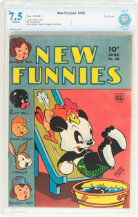 New Funnies #100 File Copy (Dell, 1945) CBCS VF- 7.5 Off-white pages