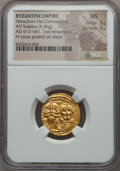 Ancients:Byzantine, Ancients: Heraclius & Heraclius Constantine (AD 613-641). AVsolidus (4.39 gm). NGC MS 3/5 - 3/5...