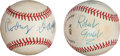 Baseball Collectibles:Balls, 1980's Rodney Dangerfield & Robert Goulet Single Signed Baseballs Lot of 2 from The Gary Carter Collection....