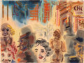 Fine Art - Work on Paper:Watercolor, George Grosz (1893-1959). Street Scene, Downtown Manhattan,1933. Watercolor on paper. 19 x 24-3/4 inches (48.3 x 62.9 c...