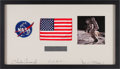 Explorers:Space Exploration, Apollo 12 Flown American Flag on a Crew-Signed Mat in a Framed Display, Originally from the Personal Collection of Mission Lun...
