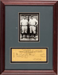 Baseball Collectibles:Others, 1942 Babe Ruth Signed Check Display....