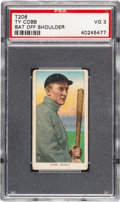 Baseball Cards:Singles (Pre-1930), 1909-11 T206 Sweet Caporal Ty Cobb (Bat Off Shoulder) PSA VG 3....