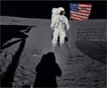 Autographs:Celebrities, Edgar Mitchell Signed Large Apollo 14 Lunar Surface Color Photo,with Extensive Description. ...