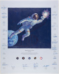 "Explorers:Space Exploration, Alan Bean Signed Limited Edition ""Reaching for the Stars"" TexturedCanvas Color Print Signed by Twenty-Four Astronauts, #AP25/..."