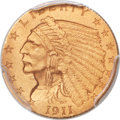 Proof Indian Quarter Eagles, 1911 $2 1/2 -- Filed Rims -- PCGS Genuine. Proof, Unc Details....