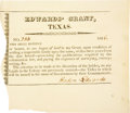 Autographs:Statesmen, [Edwards Grant] Partly Printed Document Signed by Haden Edwards....