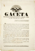 Books:Pamphlets & Tracts, [Broadside] Gaceta Del Gobierno Supremo Del Estado De Coahuila YTejas. ...