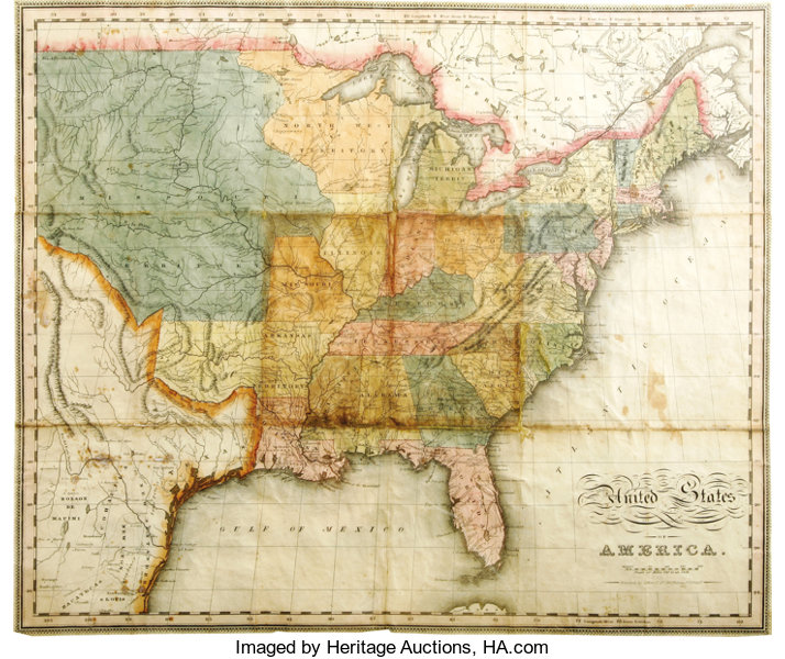 Map Of United States Of America And Texas Western - 1823 us map