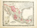 Western Expansion, 1862 Johnson's Mexico Map...