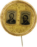 Political:Ferrotypes / Photo Badges (pre-1896), Grant & Colfax: Gilt Ferrotype....