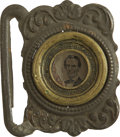 Political:Ferrotypes / Photo Badges (pre-1896), Abraham Lincoln: Ferrotype Belt Buckle....