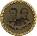 Political:Ferrotypes / Photo Badges (pre-1896), Lincoln & Hamlin: Uniface Gilt Rimmed Ferrotype....