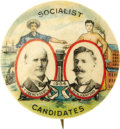 """Political:Pinback Buttons (1896-present), Debs & Hanford: A Colorful Classic 1 ¼"""" Jugate Button for the 1904 Socialist Candidates...."""