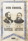 Political:Textile Display (pre-1896), Garfield & Arthur: An Important Large 1880 Jugate ClothCampaign Banner....