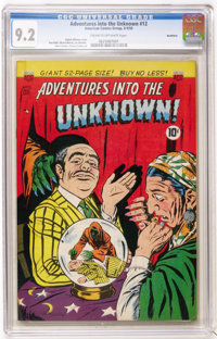 Adventures Into The Unknown #12 Northford pedigree (ACG, 1950) CGC NM- 9.2 Cream to off-white pages