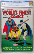 Golden Age (1938-1955):Superhero, World's Finest Comics #3 (DC, 1941) CGC VF 8.0 Off-white pages....
