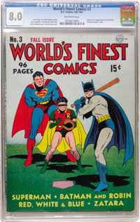 World's Finest Comics #3 (DC, 1941) CGC VF 8.0 Off-white pages