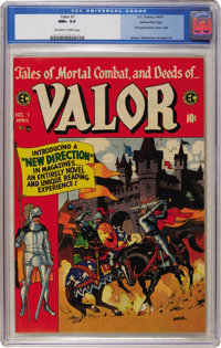 Valor #1 Gaines File pedigree 8/12 (EC, 1955) CGC NM+ 9.6 Off-white to white pages