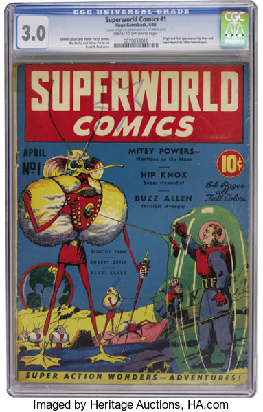 superworld comics 1 hugo gernsback 1940 cgc gd vg 3 0 cream
